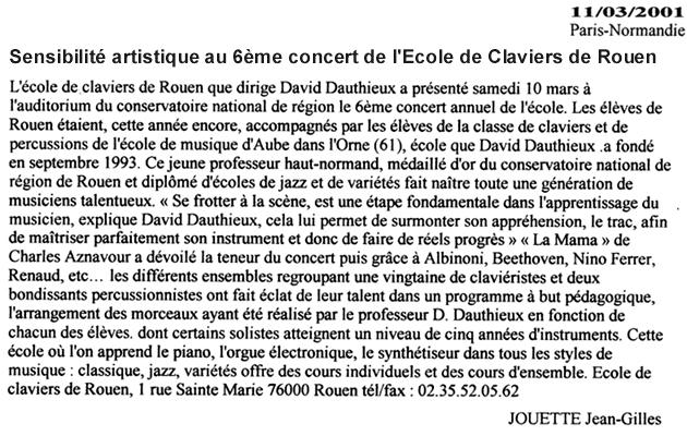 Sensibilité au 6e concert de l'Ecole de Claviers de Rouen - Paris normandie - 11 Mars 2001