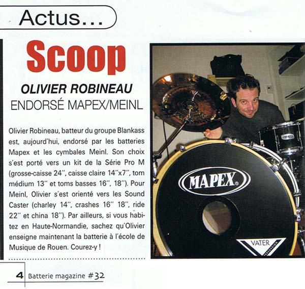 """Article """"Olivier Robineau endorsé Mapeix/Meinl"""" de Batteur Magazine N32"""