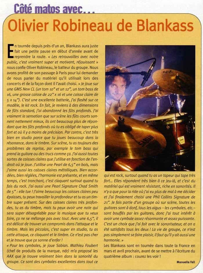 "Article ""Olivier Robineau de Blankass"" de Batteur Magazine N167"