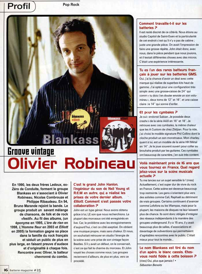 "Article ""Olivier Robineau"" de Batteur Magazine N25"