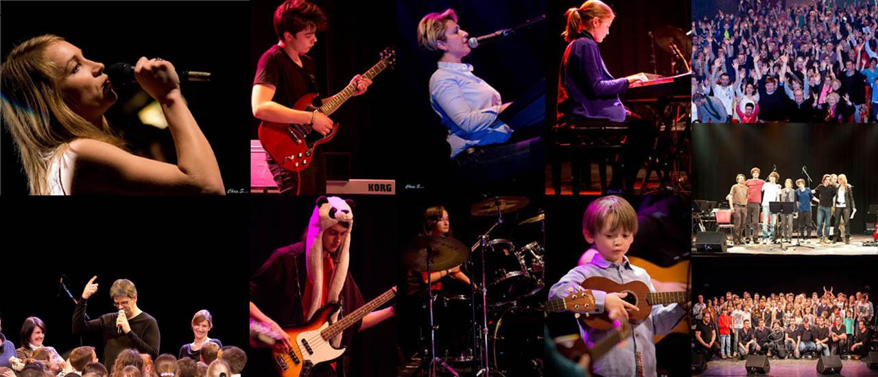Les élèves des écoles de Claviers, Chant, Basse, Batterie et Guitares de Rouen en concert